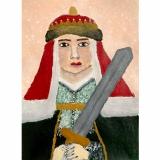 Viltė, 10 kl. Sofija Vytautaitė (1371–1453), Maskvos didžioji kunigaikštienė. Darbas įkvėptas dailininkės Janinos Malinauskaitės paveikslų